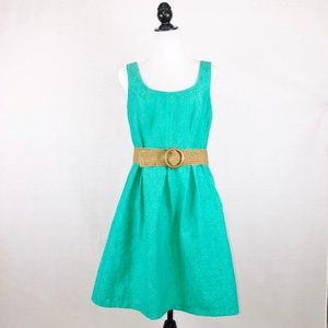 Nine West jade green belted fit & flare dress